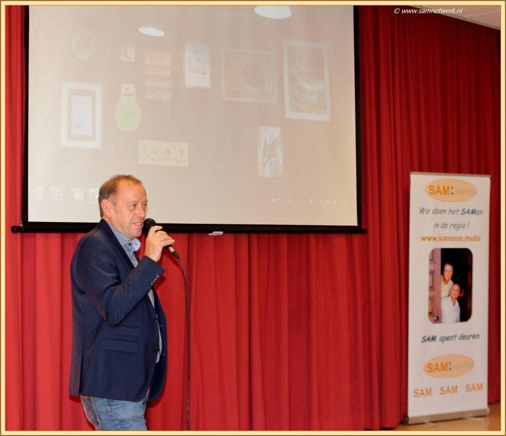 Peter pitcht tijdens de SAM netwerkbijeenkomst bij de GGD Hart voor Brabant